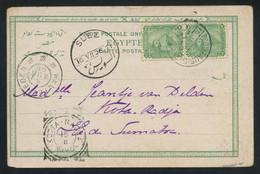 Egypt 1906 Post Card From Port-Taufic To Kota-Radja, NETHERLANDS INDIES, Bearing 2m Green Pair, RARE DESTINATION - 1866-1914 Khedivato De Egipto