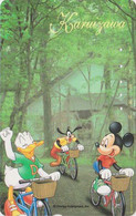 TC JAPON / 110-178885 - DISNEY - Série Voyage N° 12 - KARUIZAWA - MICKEY MINNIE DINGO Velo Bike 1 - JAPAN Free Phonecard - Disney