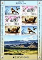 "Artsakh 2021 ""Europa""The National Endangered Wildlife. Red Kite,Marbled Polecat,Apollo"" MS Quality:100% - Armenia"