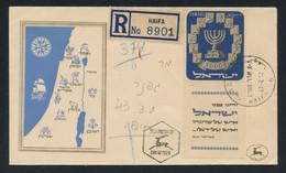 Israel 1952 Menorah 1000pr WITH FULL TAB ON FDC Sent Reg. From Haifa, Fault-free Quality, MiNr. 66, Stamp Cat. €250 - FDC