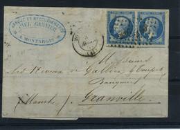 14A En Paire Sur Lettre PC2060 Montargie - Arrivée Granville - 1849-1876: Periodo Classico