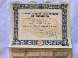 S.A.  D' INSTALLATIONS  MÉCANIQUES  Et  AGRICOLES --------Action  De  100 Frs - Landwirtschaft