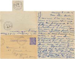 ENTIER CARTE-LETTRE TYPE MERCURE 1f. Bleu YT SPE-CL1 – OMec KRAG ANNECY 14-12-40 => AIGUIPERSE PUY DE DOME - Standard Postcards & Stamped On Demand (before 1995)