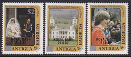 Antigua & Barbuda 1982 Royal Visit Sc 672-74 Mint Never Hinged - Antigua And Barbuda (1981-...)