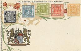 ALLEMAGNE Bavière - Représentation Du Timbre - Timbres - PostKarte - Die Ersten Briefmarken Von BAYERN - Stamps (pictures)