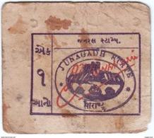 INDIA Junagadh (SAURASTHRA) Princely State 1-ANNA World War II CASH COUPON 1942 GOOD/USED - Soruth