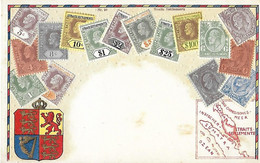 STRAITS SETTLEMENTS - Représentation Du Timbre - Timbres - Carte Gaufrée - Stamps (pictures)