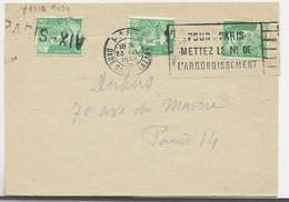 GANDON 5FR VERT CLAIR X2 LETTRE PARIS GARE SAINT LAZARE 23.IV.1950 + UN ANNULATION GRIFFE EN ARRIVEE PARIS PARIS XIV - 1945-54 Marianne Of Gandon