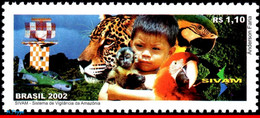 Ref. BR-2852 BRAZIL 2002 ANIMALS, FAUNA, SIVAM, SYSTEM VIGILANCE, OF AMAZON, PARROT, AVIATION,MI# 3262,MNH 1V Sc# 2852 - Parrots