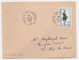 SURTAXE 25C JOURNEE DU TIMBRE SEUL LETTRE AMBULANT LYON A AIX LES BAINS 25.10.1970 - Railway Post