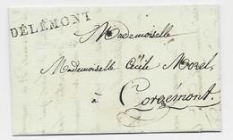 HELVETIA SUISSE MARQUE DELEMONT LETTRE DEFAUT SCOCHT POUR CORGEMONT FRAPPE SUPERBE - Postmark Collection