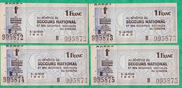 LOT DE 4 BILLETS DE NECESSITE - SECOURS NATIONAL - OEUVRES SOCIALES DU CINEMA - FEVRIER 1943 - Bons & Nécessité