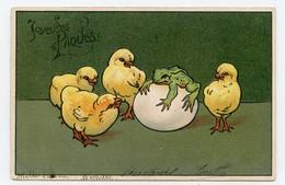 Joyeuses Pâques. Poussins . Chicks. Chick. Grenouille. Frog. Carte Gaufrée. Embossed. - Easter