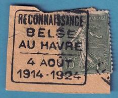 """Fragment Tp 15c Semeuse Cachet """" RECONNAISSANCE/BELGE/AU HAVRE/4 AOUT/1914-1924 """" - Andere Gebieden"""