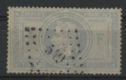 """N°33a  5 Fr Gris-bleu Cote 1250 € Oblitération PC Du GC 549 """"Boulogne Sur Mer"""" (voir Description) - 1863-1870 Napoleon III With Laurels"""