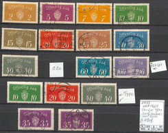 [858393]TB//O/Used-c:20e-Norvège 1933 - S9/21, Sauf S20 (OFF) Voir Scan), Armoiries - Officials