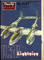Mały Modelarz 1987.10-11 Samolot Myśliwski P-38 Lockheed Lightning - Paper Models / Lasercut