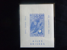 """BELG.1946 E52** : """" Salon Aéronautique 1946.voyagée. Le Bloc Ongetand/non Dentelé (100€) """" - Commemorative Labels"""