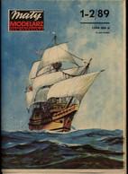 Mały Modelarz 1989.01-02 Żaglowiec Z XVII Wieku Mayflower - Paper Models / Lasercut