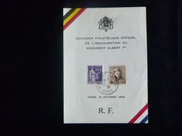 BELG.1938 Cob 165 - Série Roi Albert Casqué Du 12-10-1938 - Carte Souvenir Belgique France Aérophilatélie - Bureau Tempo - Commemorative Labels