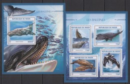 ST1888 2016 NIGER FAUNA FISH & MARINE LIFE LES BALEINES WHALES KB+BL MNH - Balene