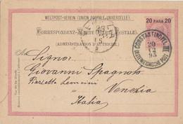 1895 Intero Postale 20 Para Con Annullo Di Costantinopoli, Per Venezia. - Cartas