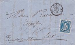 France - Y&T 14 Obl. Bouchon Sur Pli De Paris Vers Aix-en-Provence - Belles Marges + 2 Voisins - 1862 - 1853-1860 Napoleon III