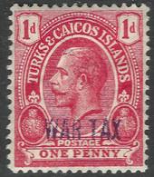 Turks & Caicos Islands. 1917 War Tax. 1d MH. SG 140 - Turks & Caicos