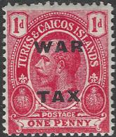 Turks & Caicos Islands. 1918 War Tax. 1d MH. SG 146 - Turks & Caicos