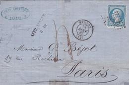 France - Y&T 22 Sur Pli Vers Paris - Marque Linéaire Affr. Insuff. R 10 - 1867 - 1862 Napoleon III
