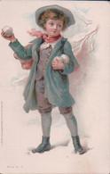 Carte Russe Par  Illustrateur, Jeune Homme élégant Et Boules De Neige (448) - 1900-1949