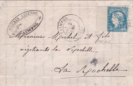 France - Y&T 44A Report 1 Avec Grand BDF Obl. GC 2769 Paimpol Sur Pli Vers La Rochelle - Cote ~1000€ - 1870 Bordeaux Printing
