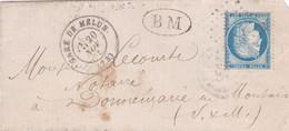 France - Y&T 60 Sur Pli De La Gare De Melun Vers Donnemarie-en-Montois (Donnemarie-Dontilly) - Marque Boite Mobile - 1871-1875 Ceres