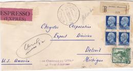 1939 Raccomandata Espresso Da Roma A Detroit Con Bollo Arrivo. - Storia Postale