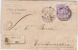 1883 Raccomandata Da Roma A Civitavecchia Con Cent 50 Isolato, Condizioni Abbastanza Buone - Storia Postale