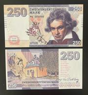 2020 Matej Gabris Deutschland 250 Mark Ludwig Van Beethoven 1770 - 2020 UNC SPECIMEN ESSAY Tirage Limité - Fictifs & Spécimens
