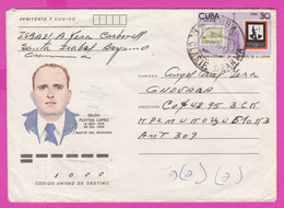 264152 / Cuba Kuba Stationery 1987 - 5c ( José Martí Poet ) +30 C. LENIN Mausoleum Stamps On Stamps Gildo Fleitas Lopez - Other