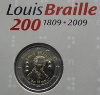 Coincard 2 Euro Louis Braille, 2009, FDC, Monnaie Royale De Belgique, Tirage 6000 Ex. - Bélgica