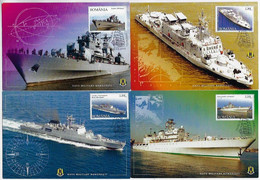 Romania 2005 Complete Series 4 Maximum Card Warship - Militares