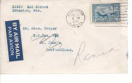 19587) Canada Edmonton Post Mark Cancel 1946 Air Mail - Brieven En Documenten