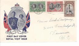 19602) Canada Vancouver Postmark Cancel 1939 Royal Visit FDC First Day Cover - Brieven En Documenten