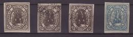 BOLIVIE : N° 4 N° 7 . 4 EX . (*),* , OBL  . 1867/68 .  ( CATALOGUE YVERT ) . - Bolivia