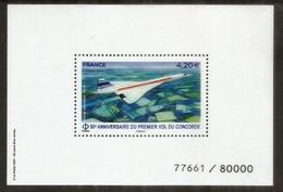 FRANCE. 50 Ième Anniversaire Du Premier Vol Concorde. Bloc-feuillet Neuf ** Numéroté - Concorde