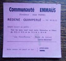 Carton Communauté Emmaüs - Rédéné-Quimperlé - Avis De Passage - Abbé Pierre - Visiting Cards