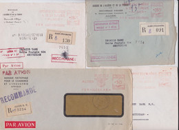 Algérie Française Lettre Alger EMA Affranchissement Machine Lot De 4 Enveloppes Pour Banque Amsterdam Slogan Flamme - Covers & Documents