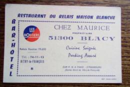 """Carte De Fidélité - Restaurant """"Chez Maurice"""" - Relais Maison Blanche - Blacy, Vitry-le-François - Visiting Cards"""