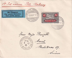 SUISSE 1930 PLI AERIEN BALE-CHERBOURG - Storia Postale