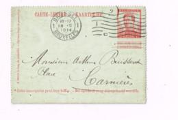Carte-lettre à 10 Centimes.Expédié De Bruxelles à Carnières. - Letter-Cards