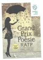 CPM Affiche Sur Carte RATP Grand Prix De La Poésie Présidente Du Jury Isabelle Carré - Pluie De Lettes Parapluie 2019 - Otros