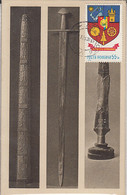 ARCHAEOLOGY, OLD WEAPONS, SWORDS, COAT OF ARMS STAMP, CM, MAXICARD, CARTES MAXIMUM, 1992, ROMANIA - Archéologie